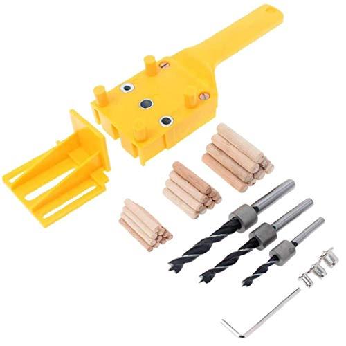 OMMO LEBEINDR Hand Dowel Jig Kit mit Holzspannstifte Bohrer Holzverarbeitung Joiner, Gelb, 38pcs