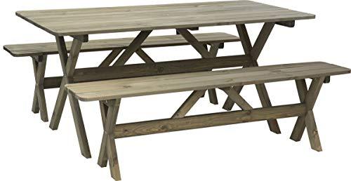 made2trade hoogwaardige tuintafel met banken van grenenhout