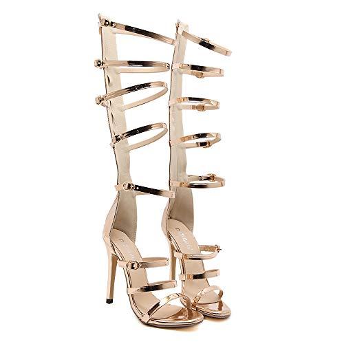 Damen Leder Stilettos Sandalen, Sommer Gold Riemen Schnalle Gladiator High Heel Sandalen Römische Sandale Reißverschluss Kniehohe Sandale Stiefel,Gold,EU40