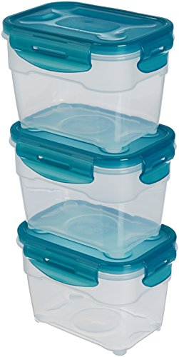 AmazonBasics - Frischhaltedosen-Set, luftdicht, 3-teilig, 16 x 12 x 11 cm