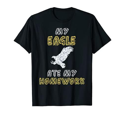 My Eagle Comió Mi Deberes Hawk Animal Kid Volver a la Escuela Camiseta