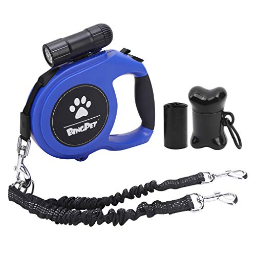BINGPET Dual Retractable Dog Leash - 26ft Heavy Duty Double-Head Lockable Extendable Pet Leash with LED Flashlight, Poop Bags, Reflective Elastic Rope for Dogs Walking, Up to 110 lbs