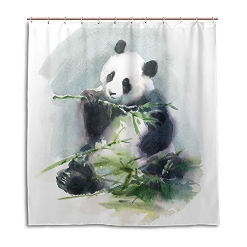 CPYang Duschvorhänge, Aquarell, Panda, Bambus, wasserdicht, schimmelresistent, 168 x 182 cm, mit 12 Haken