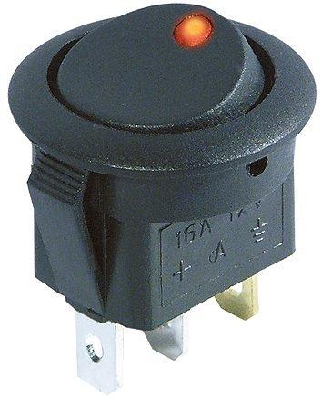 MC POWER - Kfz-Schalter | rote LED, 12V / 16A, 3-polig, 2 Stellungen: EIN / AUS
