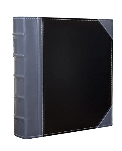 """Executive Binder, English Leather 2 Tone with Stitching and Ribbed Spine, Heavy Duty 1.1/2"""" Inch 3 D-Ring with Buster, Holds 350 8.5""""x 11"""" Sheets (Grey)"""