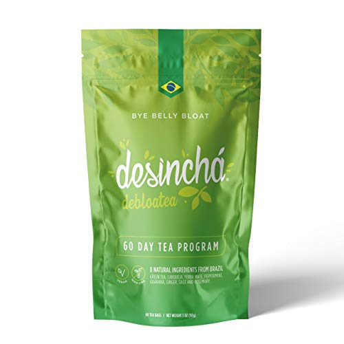 Desincha Tea - Debloatea I Ginger & Peppermint I May Increase Energy, Supports Mental Focus & Metabolic Health I Helps Improve Digestion & May Reduce Bloating I 8 Natural Ingredients I 60 Count