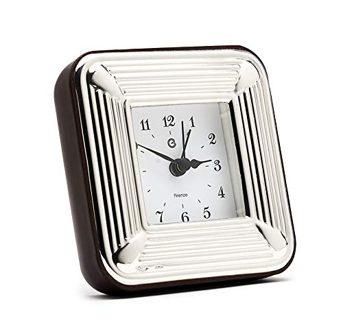 SEC OF FLORENCE Solid 925 Sterling Silber Table Alarm Clock 7507/6 x 6 cm - 2,3 Zoll x 2,3 Zoll