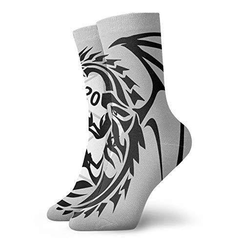Rajfoo Dungeons And Dragons - Blanco y Negro Calcetines Personalizados Deporte Medias Deportivas 30cm Calcetín Para Hombres Mujeres