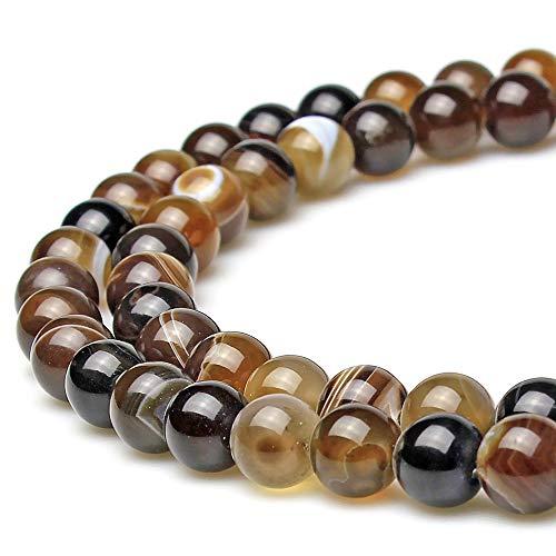 jartc Perline Per Braccialetti Energetico Braccialetto Yoga Braccialetto Fai da Te Perle di Pietra Naturale Agata A Strisce Caffè 32 Pezzi, 34CM,12 mm