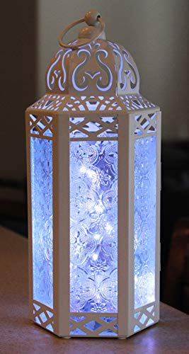 Vela Lanterns Moroccan Style Candle Lantern with LED Lights Medium Clear Glass White