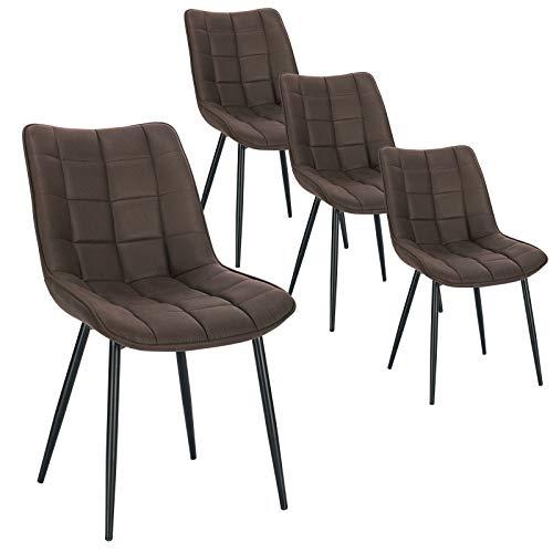 WOLTU 4 x Esszimmerstühle 4er Set Esszimmerstuhl Küchenstuhl Polsterstuhl Design Stuhl mit Rückenlehne, mit Sitzfläche aus Stoffbezug, Gestell aus Metall, Dunkelbraun, BH247dbr-4