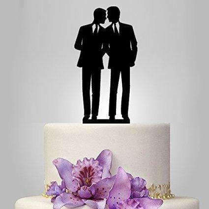 Decoraciones de acrílico de tarta para boda gay, siluetas del mismo sexo