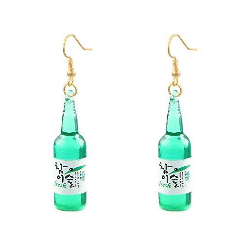 Sake-Weinflaschen-Ohrringe, süße, grüne Flaschen-Bettel-Ohrringe für Mädchen