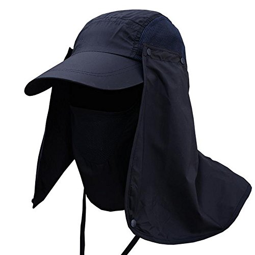 Fannyfuny Gorra Hombre Gorras Mujer Sombrero Verano Unisex Viseras Gorra de Protección Solar Anti-UV con Máscara Extraíble Sombrero Tapa de Cuello y Face Flap para Ciclismo Senderismo Pesca