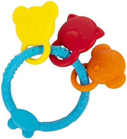 INFANTSO Non-Toxic Food-Grade Silicone Baby Teether Animal Shapes with Easy Grip (Blue), BPA-Free for Pain-Relief Eas...