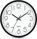 Lisedeer Reloj de pared analógico de cuarzo de 30 cm, silencioso, segundero silencioso, sin tictac, color negro
