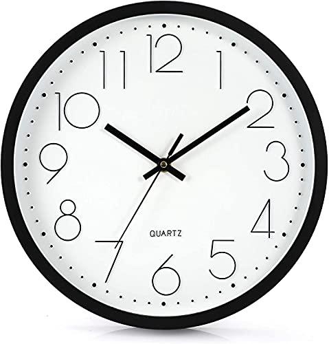 Lisedeer 30cm Modern Quartz Lautlos Wanduhr Schleichende Sekunde ohne Ticken Analoge Wanduhr (Schwarz)