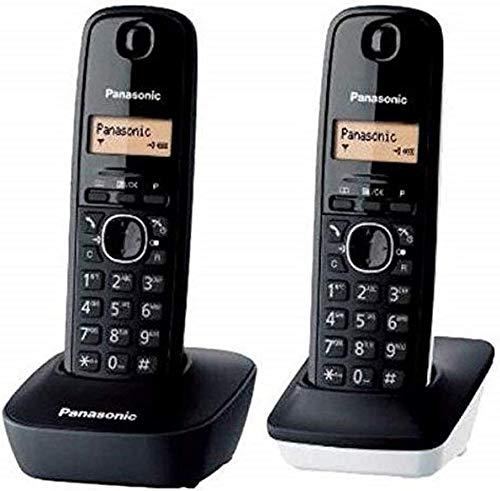 Oferta de Panasonic KX-TG1612 - Teléfono Fijo inalámbrico Dúo (LCD, identificador de Llamadas, Intercomunicación, tecla de navegación, Alarma, Reloj), Color Negro y Blanco