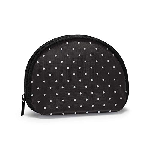 Military Camo Repeats Green Hunting Travel Shell Cosmetics Storage Bags Coin Purse Change Wallet for Women with Zipper-PolkaDotsBla-OneSize