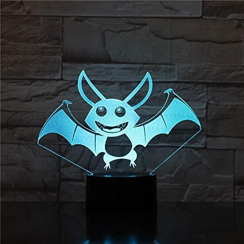 Only 1 Piece Animal Bat LED Night Lamp 3D Illusion Touch Sensor Hoom Decoration Bedroom Lights Child Kids Baby Nightlight Lamp Bedside7