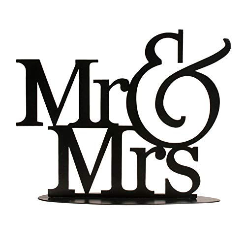 Dekora-Figuras de Boda de Metal Mr&Mrs de Color Negro 22x18 cm, (305071)