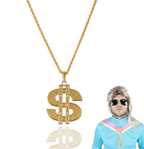 TK Gruppe Timo Klingler Goldkette Dollar Dollarkette Gangster Scheich Zuhälter Silber & Gold Gangsterkette Kette Dollar Rapper 80er 90er Jahre Kostüm Karneval Fasching Accessoires Hip Hop Outfit (1x)