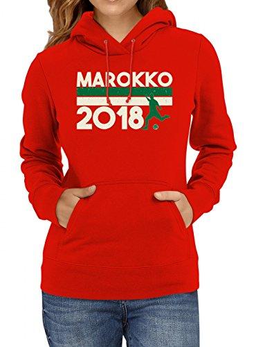 Shirt Happenz Marokko Weltmeisterschaft 2018#18 Premium Hoodie Fan Trikot Fußball WM Nationalmannschaft Frauen Kapuzenpullover, Farbe:Rot;Größe:S