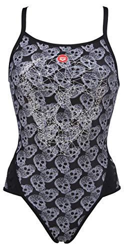 ARENA Crazy Pop Skulls Badeanzug für Damen M schwarz (Black/Multi)