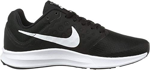 Nike Womens Downshifter 7 Low Top Lace Up Running Sneaker, Black/White, Size 9.0