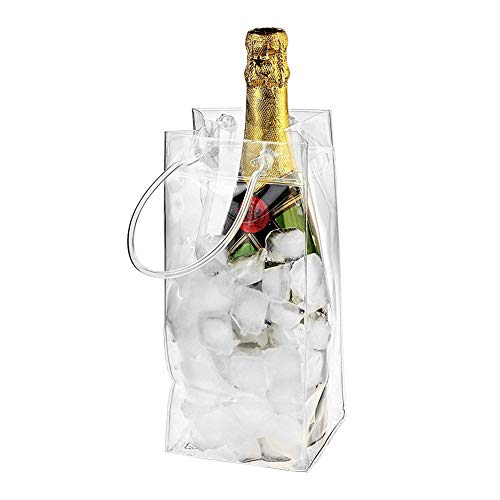 Lamptti Outdoor Wine Beer Ice Bag Cooler - 10 Pack PVC Leakproof Ice Bag Transparent Ice Pack Portable Ice Bucket Wine Cooler Bag Champagne Bottle Chiller with Carry Handle
