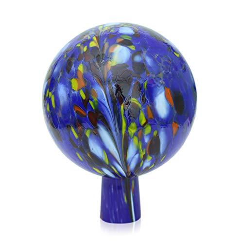 Lauschaer Glas Gartenkugel Rosenkugel aus Glas mit Granulat dunkelblau d 15cm mundgeblasen handgeformt
