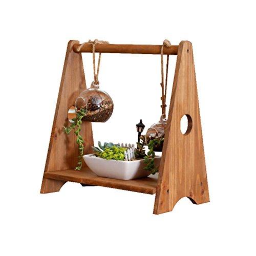 Effen houten bureaublad kleine bloem standaard kan ophangen vetplanten creativiteit kantoor vensterbank op de tafel Mini Potted Display stand ambachten opslag rek bruin binnen (Maat: L30cm X B18cm X H32cm)