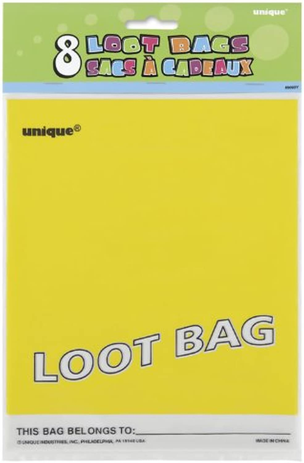 Yellow Party Bags (Pack Of 8)