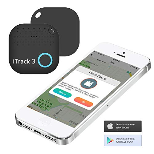 Key Finder Locator - iTrack 3 Bluetooth Key Tracker Item Finder Anti-Lost Motion Alert Bidirectional Find Battery Replaceable for Keychain, Phone, Wallet, Luggage and Any Small Device, Black