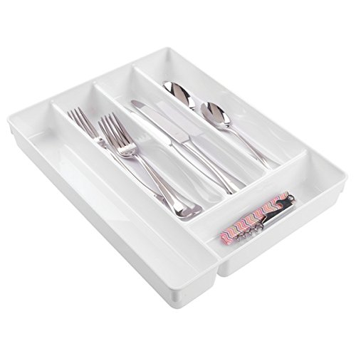 mDesign organizador plastico con 6 compartimentos para sus utensilios de cocina - Organizador cocina en color blanco - Cubertero ideal para cajones