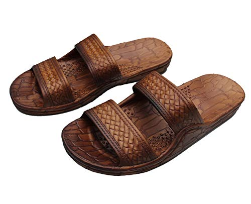 IMPERIAL SANDALS HAWAII Footwear Brown Black Gray Jesus Sandal Slipper for Women Men and Teen Classic Style (9, Brown)