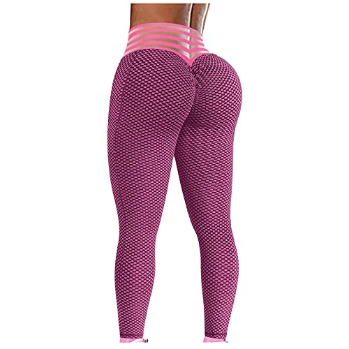 YESIMOLA Fitness Tights for Women, Ladies Solid Workout Leggings Sports Running Yoga Athletic Pants (Pink,Large)