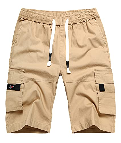 APTRO Men's Elastic Waistband Cotton Cargo Shorts Relaxed Fit Summer Casual Shorts A901 Khaki L