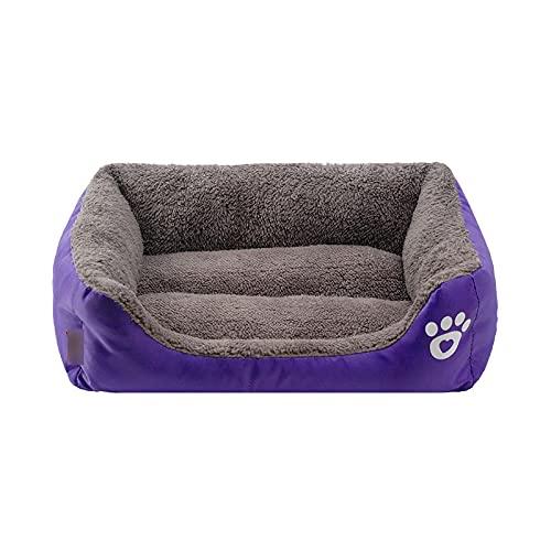 Pet bed Sofá cama para perro súper grande, impermeable, parte inferior suave, forro polar, para perros, ideal para otoño, invierno, cálido, acogedor, casa de perro, morado, XL, 80 x 65 x 17 cm