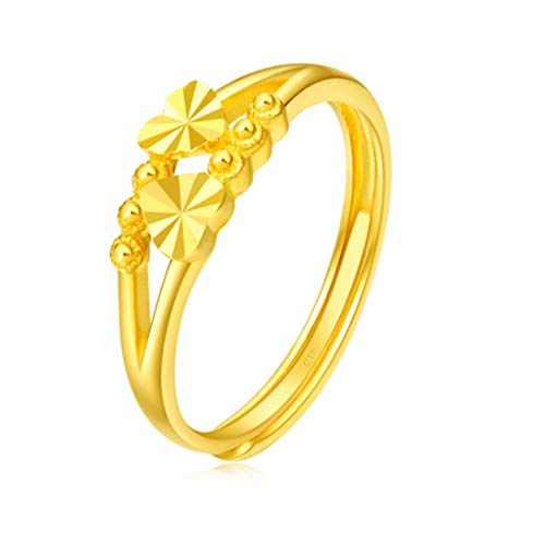 ZOSUO Women's Gold Band Ring High Polish 999 Pure Gold Adjustable Size Smooth Open Thumb Finger Ring Pure Gold Band Ring Joint Dome