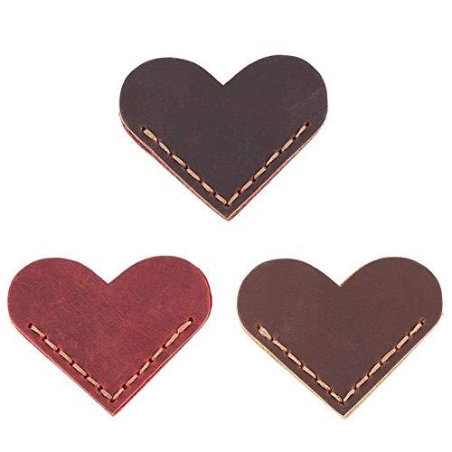 3 segnalibri a forma di cuore in pelle, segnalibri ad angolo, in pelle, fatti a mano, per libri di lettura, per donne, uomini, insegnanti, studenti, amanti, regali