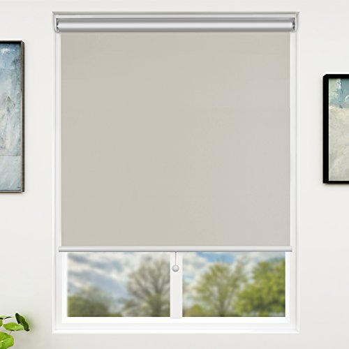 SUNFREE Automatic Roller Shades White 100% Blackout Roller Shades Battery Running Shades with Remote Control Wireless Rechargeable Window Shades for Home and Office, White 48 x 72 inch