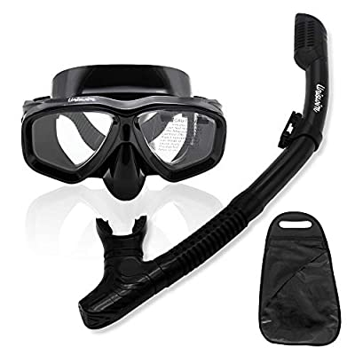 Uniswim Snorkeling Package Set for Adults, Dry Snorkel Mask Purge Valve Tube Snorkel Silicone Mouthpiece, Anti-Fog Coated Glass Diving Mask Clear View Leakproof Easy Breathing - Black
