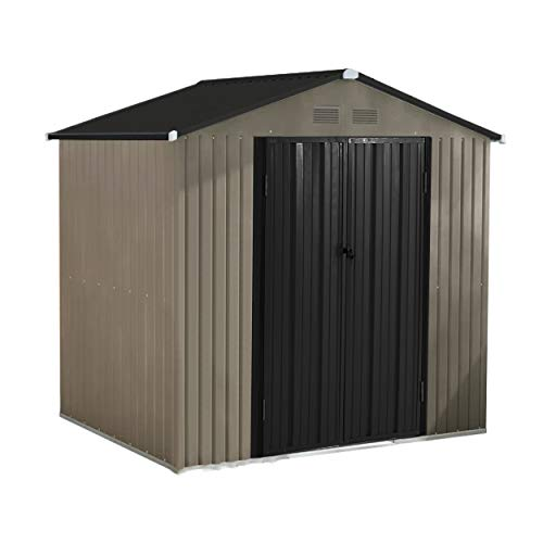 MUPATER 8' x 6' Garden Storage Shed for Outdoor with Foundation, Metal Utility Tool Shed Kit for Backyard with Two Doors and Lock, Grey and Black