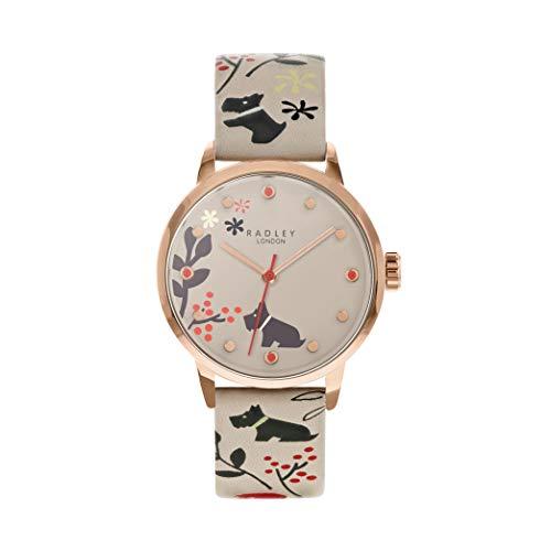 Radley RY2930A Damen-Armbanduhr mit Blumenmuster, Taubengraues Lederband
