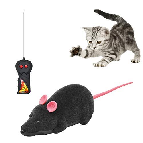 Ledeak Telecomandato Ratto Senza Fili Giocattolo, Peluche Simulazione Telecomando Mouse Topo Elettrico Controllo Remoto Interattivo per Animali Domestici Gatto Gatti Cane(Grigio)