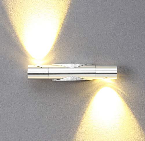 lampada a muro SISVIV 6W LED Applique da Parete Girevole a 360° Lampada da Parete Interno Moderno Lampada da Muro in Alluminio per Camera da Letto Soggiorno Scale Argento Bianco Caldo