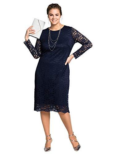 Sheego Damen Cocktailkleid mit eleganter Spitze Marine, 50