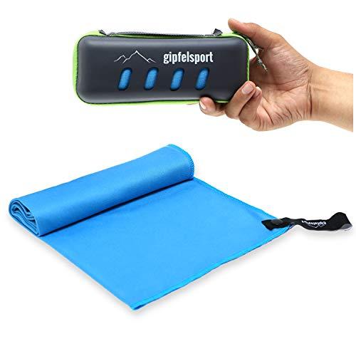 Mikrofaser Handtuch Set - Microfaser Handtücher mit Case für Sauna, Fitness, Sport | Strandtuch, Sporthandtuch | blau/grau | 120x60cm