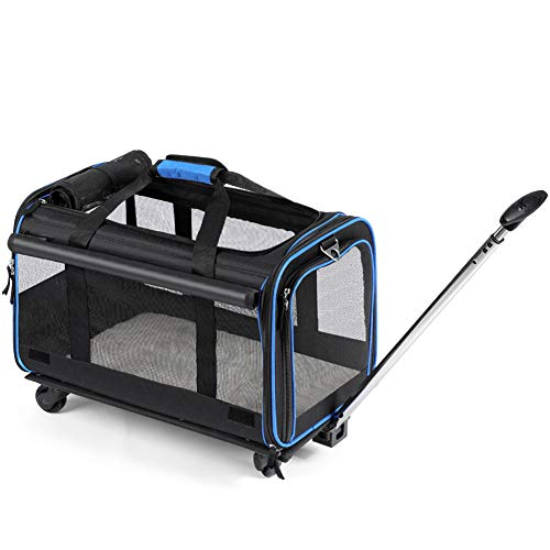 YOUTHINK Pet Wheels Rolling Carrier, Removable Wheeled Travel Carrier for Pets up to 20 lbs, with Extendable Handle & Detachable Fleece Bed, 20' x 12'x 11', Black